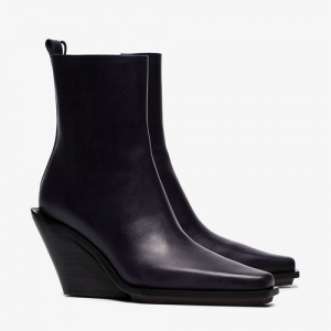 Ann Demeulemeester Purple 100 Leather Wedge Ankle Boots