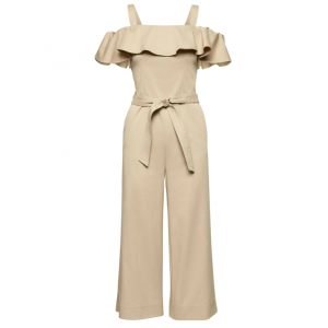 Twill Off-the-Shoulder Cropped Jumpsuit