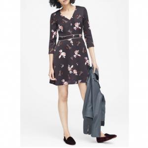 Floral V-Neck Fit-and-Flare Dress