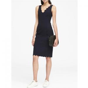 Petite Scalloped Bi-Stretch Sheath Dress