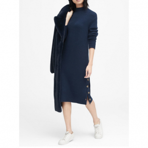 Petite Turtleneck Sweater Dress with Button-Sides