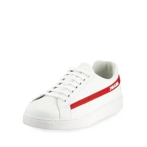 Prada Men's Avenue Vitello Plume Side-Stripe Leather Low-Top Sneakers