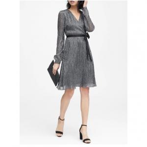 Petite Pleated Metallic Faux-Wrap Dress