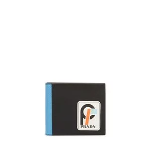 Prada Men's Saffiano Leather Bi-Fold Wallet with Runway Logo Patch