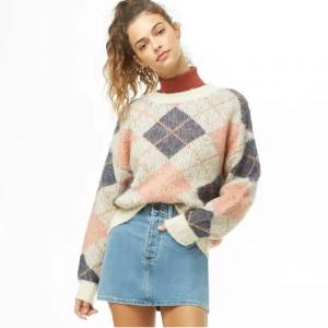 ブラッシュドアーガイルチェックセーター