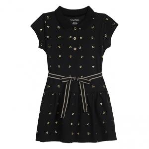 Black Foil Piqué Dress - Toddler & Girls
