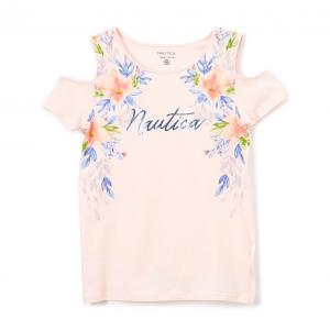 Soft Pink Floral 'Nautica' Shoulder-Cutout Crewneck Tee - Toddler & Girls