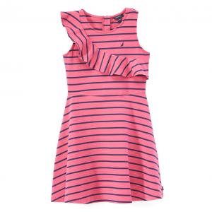 Dark Pink Stripe Ruffle Dress - Toddler