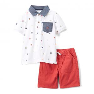 White Polo & Red Shorts Set - Boys