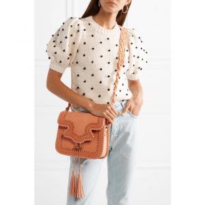 ULLA JOHNSON Esti macramé-trimmed studded leather shoulder bag