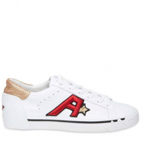 ASH White Leather Next Gold Glitter Sneakers