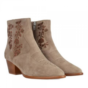 ASH Beige Desert Suede Halo Embroidered Ankle Boots