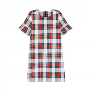 Plaid Bell Sleeve Party Dress