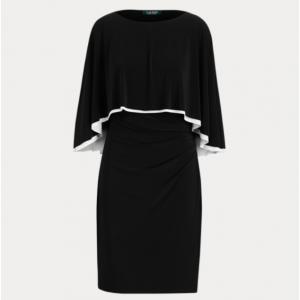 LAUREN PETITE Jersey Cape Dress