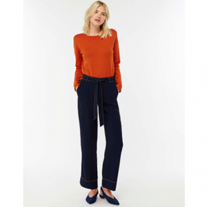 CLEO CONTRAST STITCH BELTED TROUSERS