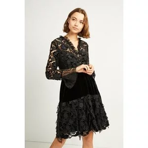 CYNTHIA VELVET LACE MIX DRESS