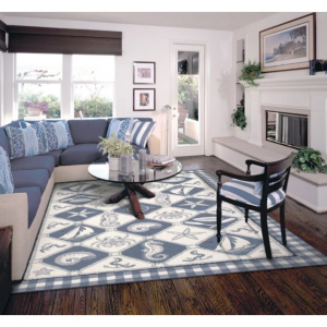 KAS Rugs Colonial 1807 Nautical Panel Area Rug - Blue / Ivory 2.5 x 4.17 ft.