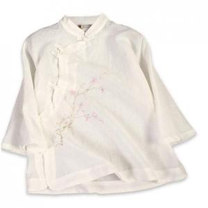 YOUMU Lady Girls Vintage Linen Shirt Chinese Traditional Mandarin Frog Button Blouse Top