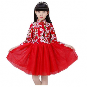 Soojun Kids Girls Long Sleeve Frog Button Cheongsam Dress Chinese Qipao Floral Tutu