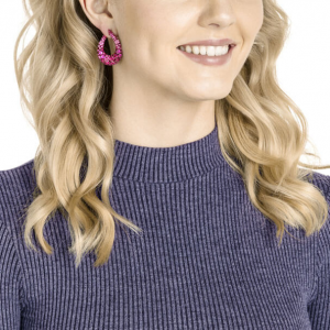Magnetized Pierced Earrings, Multi-coloured, Pink Lacquer Plating