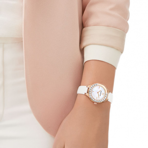 Lovely Crystals Mini Watch, Leather Strap, White, Rose Gold Tone