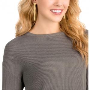 Fit Long Pierced Earrings, Golden, Gold Plating