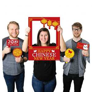 Chinese New Year - 2019 Year of The Pig Party Selfie Photo Booth Picture Frame & Props