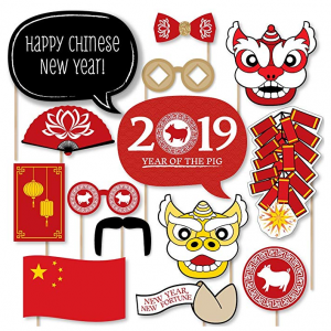 Chinese New Year - 2019 Year of The Pig Photo Booth Props Kit - 20 Count