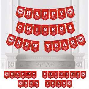 Chinese New Year - 2019 Year of The Pig Party Bunting Banner Year Party Decorations - Happy Chines