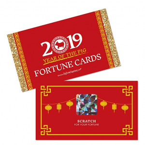 Chinese New Year - 2019 Year of The Pig Party Scratch Off Fortune Cards - 22 Count