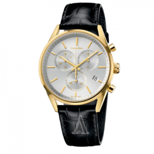Calvin Klein Formality Men's Watch, Stainless Steel Yellow Gold PVD Coated Case Leather Strap
