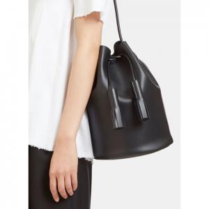 BUILDING BLOCK Women's Leather Bucket Bag in Black