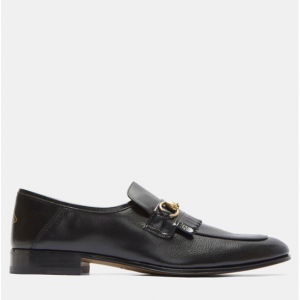 GUCCI Fringed Horsebit Leather Loafers in Black