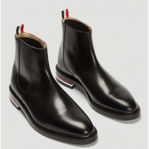 THOM BROWNE Fitted Zip Chelsea Boots in Black