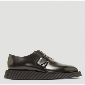 JIL SANDER Leather Monkstrap Derby Shoes in Black