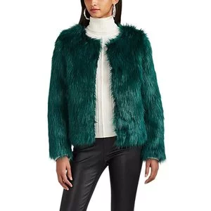 BARNEYS NEW YORK Faux-Fur Crop Jacket