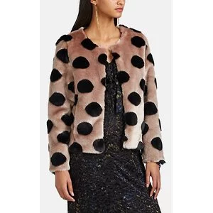 BARNEYS NEW YORK Polka Dot Faux-Fur Crop Jacket