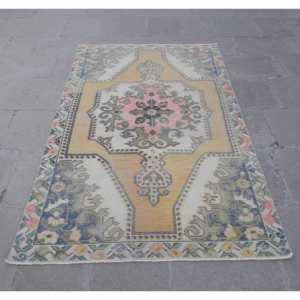 "Vintage Oushak Rug, Vintage Turkish Rug, Handmade Turkish Carpet 4'6"" x 7'6"""