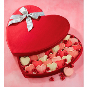 Cookies and Chocolates Satin Heart Gift Box