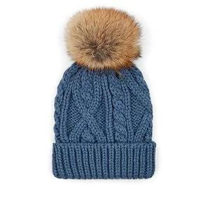 CROWN CAP Fur Pom-Pom Cable-Knit Beanie