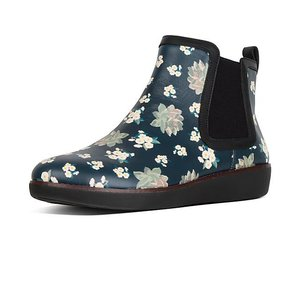 CHAI Dark Floral Leather Chelsea Boots