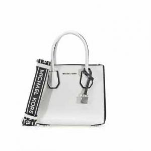 MICHAEL KORS Mercer Pebbled Leather Messenger Bag - White / Black