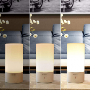 AUKEY Table Lamp, Touch Sensor Bedside Lamps + Dimmable Warm White Light & Color Changing RGB