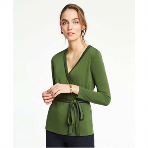Ann Taylor Piped Belted Wrap Top