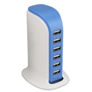 6-Port USB 30-Watt Smart-Charge Desktop Device Station - Assorted Colors