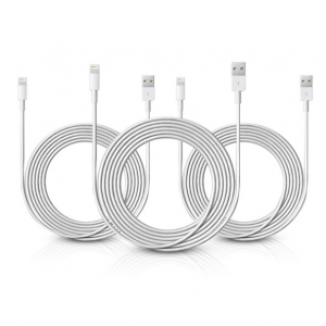 3-Pack: MFI Certified Extra-Long 10' Charge & Sync USB Cables for Apple® Lightning® Devices