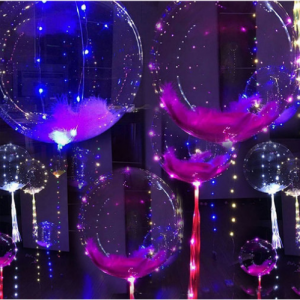 """1- to 5-Pack: Bobo 18"""" Helium Balloon with Copper LED String Light"""