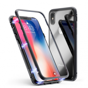 Magnetic Tempered Glass Phone Case for iPhone® XS & X - Assorted Colors