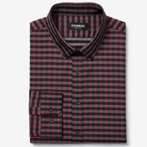 Slim Plaid Button-Down Wrinkle-Resistant Performance Dress Shirt