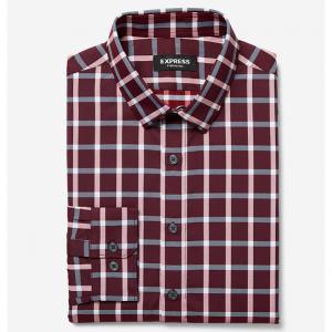 Slim Plaid Wrinkle-Resistant Performance Button-Down Dress Shirt